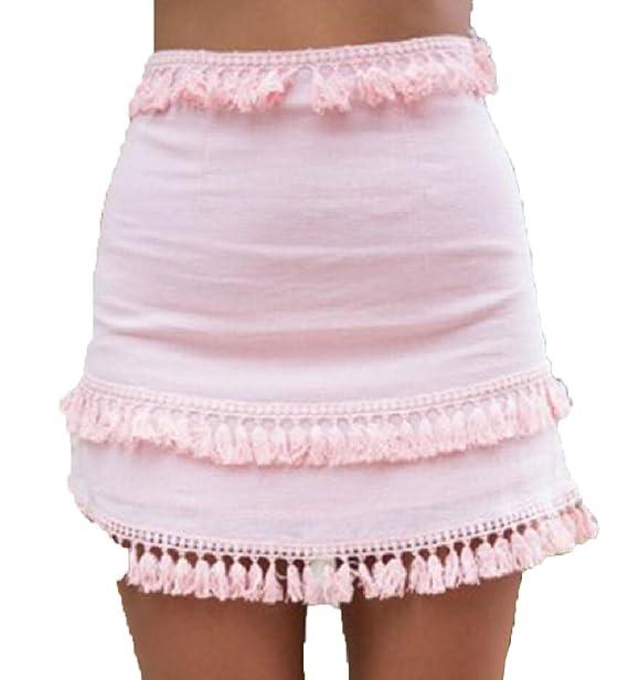 Jaycargogo Women s Casual High Waist Pencil Summer Boho Tassel Short Skirts  ... a0c509966cb