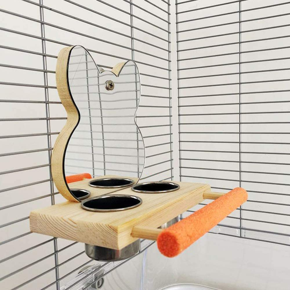 Pet Bird Stand Perch with Mirror /& Stainless Steel Bowl Wooden Birdcage Play Toys Wood Bird Mirror for Parrot Budgie Parakeet Cockatiels Conure Finch Lovebird African Grey Macaw Cage Wood Toy