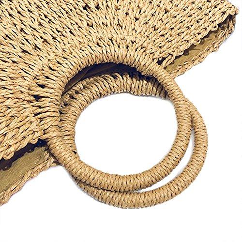 hombro tela de Bolsa de de Vestmon paja paja mujer playa Là Bolsa de Bolsa bolsos para bolso Caqui Bolsa de y verano tejida de playa de de TOx7qw