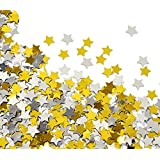 GOLD and SILVER STAR CONFETTI - 1.7 Oz Golden Silver Star Metallic Foil Sequin Confetti for Party | Wedding Decorations | Twinkle Twinkle Little Star Decorations | Adult Birthday Party | Arts Crafting