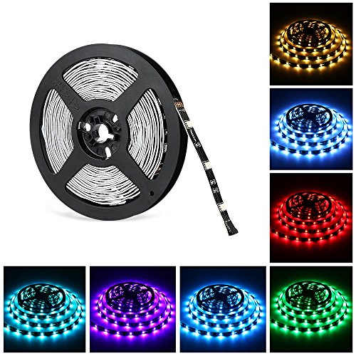 16.4ft LED light strip, Nexlux Non-Waterproof 5050 SMD Single RGB LED Flexible Strip Light Black PCB Board Color Changing Decoration Lighting (No power adapter and remote - Thanksgiving Hours Mall Great