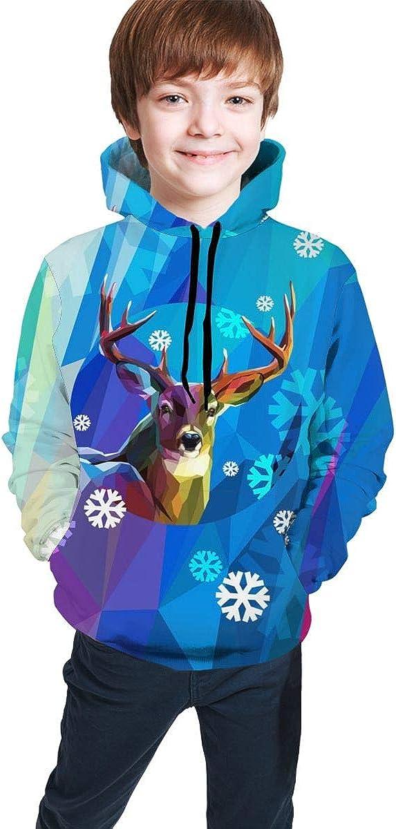 Teen Pullover Hoodies with Pocket Christmas Snowman Flakes Soft Fleece Hooded Sweatshirt for Youth Teens Kids Boys Girls