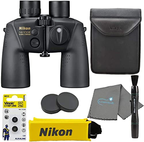 Nikon 16026 7×50 CF WP OceanPro Binoculars Golden Compass, Waterproof Bundle with Nikon Lens Pen and Lumintrail Cleaning Cloth