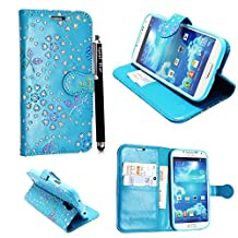 Samsung Galaxy S4 mini I9190 Case, Kamal Star® Premium PU Leather Magnetic Case Cover with ATM card and Note slots + Free Stylus (Rose Sky Blue Diamond Book)