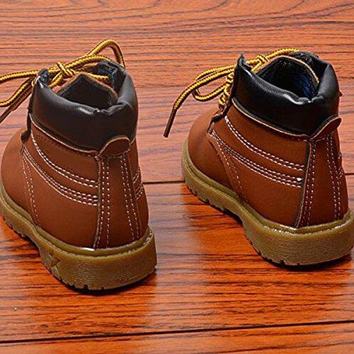 YaoDgFa Baby Jungen Schuhe Sneaker Warme Kinder Martin Stiefel Winter Winterstiefel Winterschuhe Schneestiefel Kleinkindschuhe Fell Boots gefüttert Schlupfstiefel #2 Braun