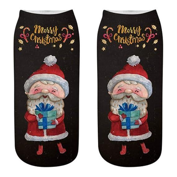 kinlene Cómodas zapatillas de algodón de Navidad Zapatillas calcetines cortos tobillo