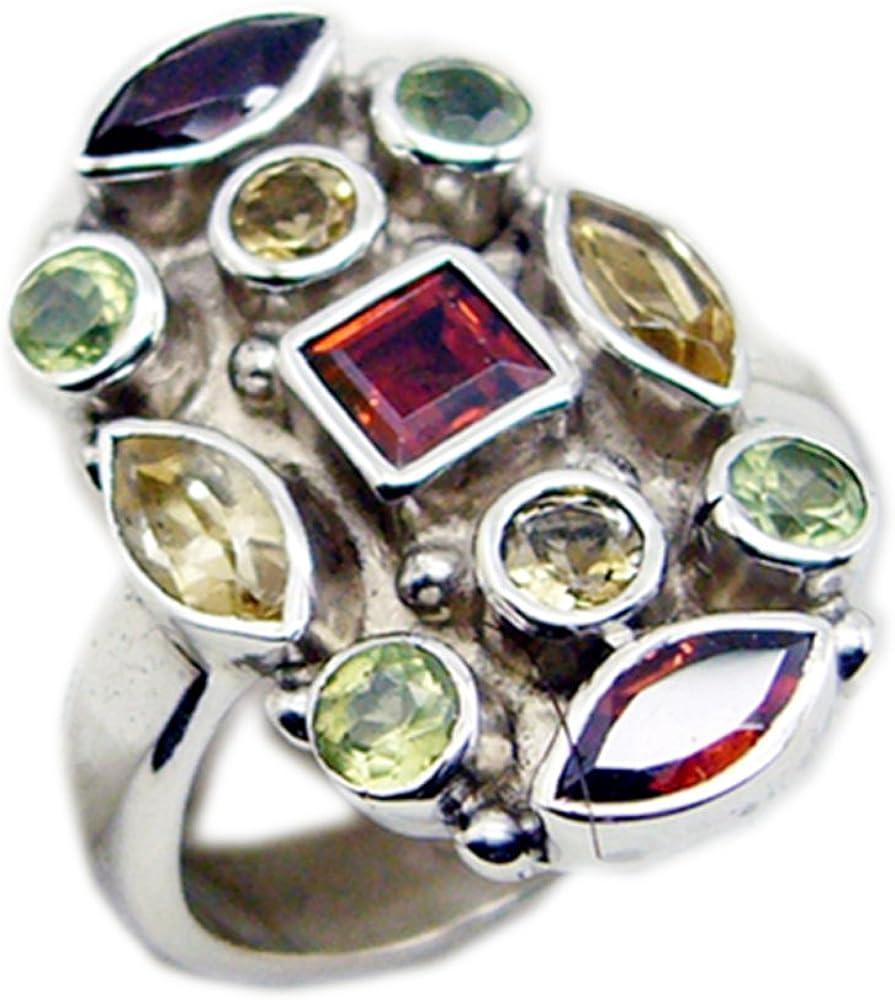 CaratYogi Fine Garnet Peridot Citrine Silver Wedding Ring Mixed Shape Bezel Style Size 5 6 7 8 9 10 11 12
