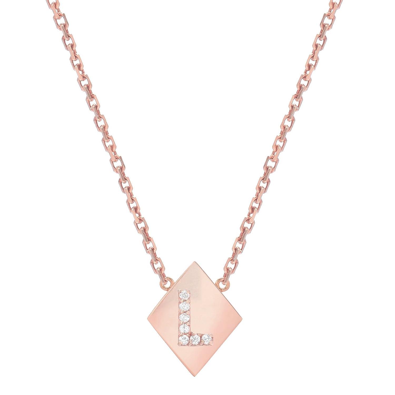 Mini Mini Jewels 14k Gold Brilliant Diamond Set Letter L Initial Elegant Frame Necklace