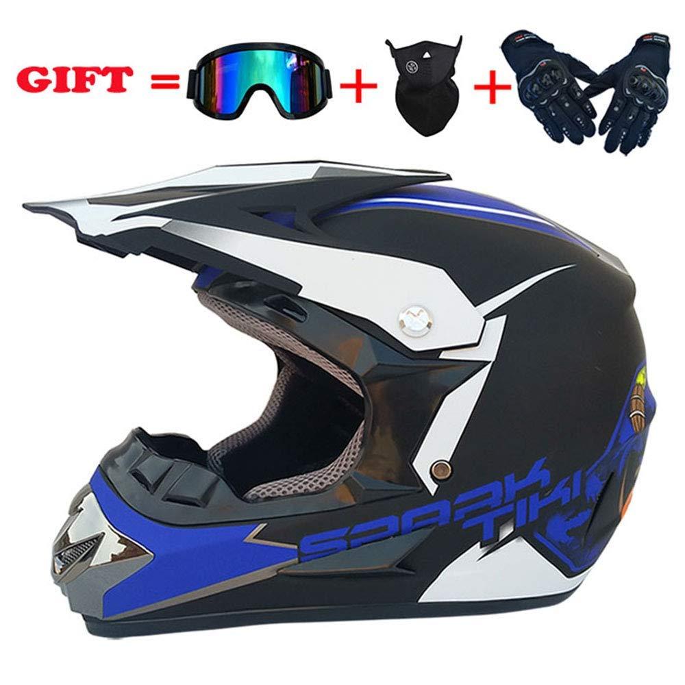 モトクロスデュアルスポーツヘルメット、フォーシーズンズユニバーサルアダルトオートバイヘルメット、AMマウンテンバイクDOTダートバイク万能ヘルメット4個セット、S、ブルー、S,青、大