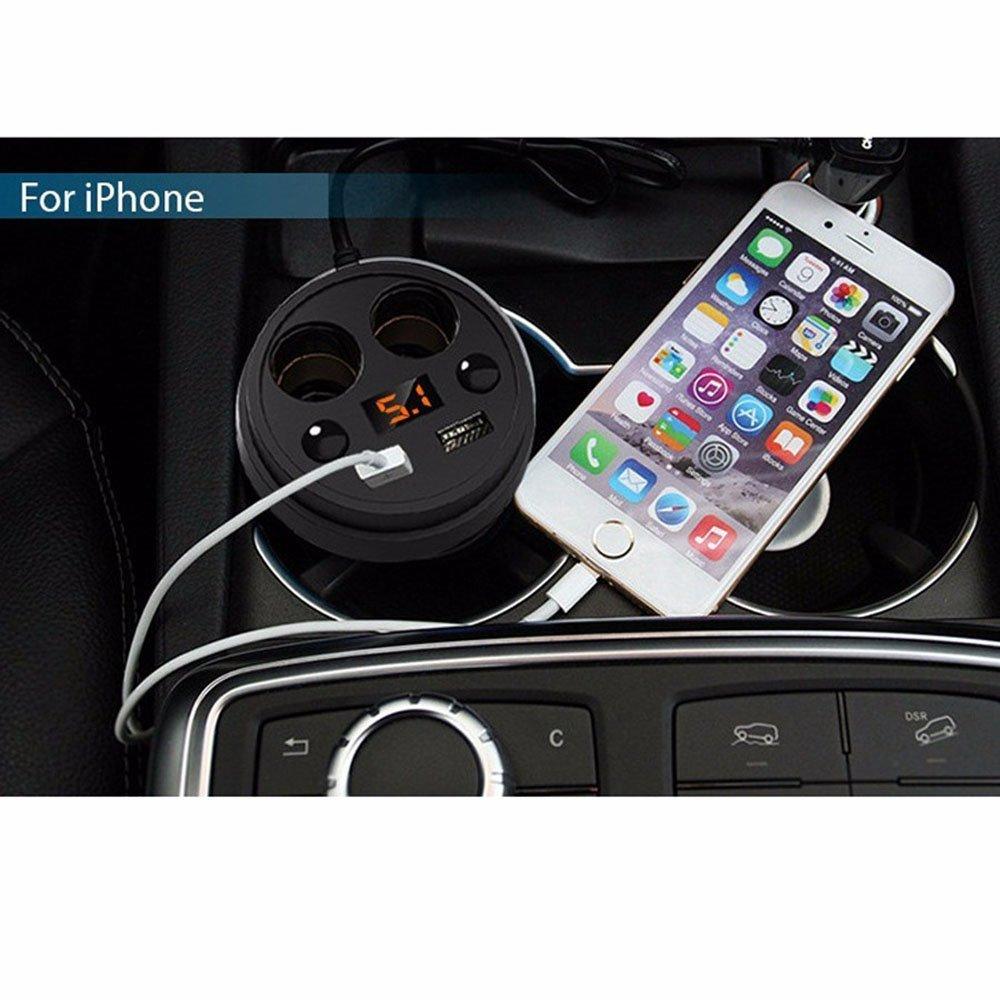 iRoundy Car Cup Ladegerät, 2 USB-Ports mit 2 Steckdosen Zigarettenanzünder Splitter LED-Anzeige für iPhone iPad, Android Samsung, GPS, Dashcam Car Cup Ladegerät, 2 USB-Ports mit 2 Steckdosen Zigarettenanzünder Splitter LED-Anzeige für iPhon