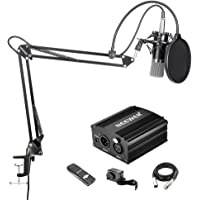 Neewer Condenser Microphone and Accessory Kit for Studio Recording - NW-700 Mic Set, NW-35 Mic Stand, Pop Filter, Black 48V Phantom Power Supply, XLR Audio Cable and USB Sound Card Adapter