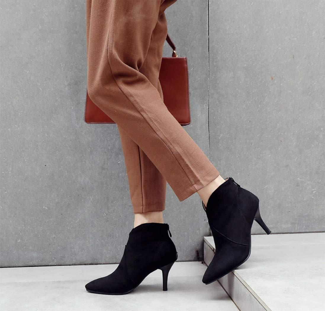 Frauen Frauen Frauen Stiefeletten Wildleder Stiletto Spitze hochhackige Stiefel hinten Reißverschluss Verdickung einfarbig Mode Stiefel Europa und die Vereinigten Staaten Herbst und Winter (36 EU-43 EU),schwarz,37EU 8247b2