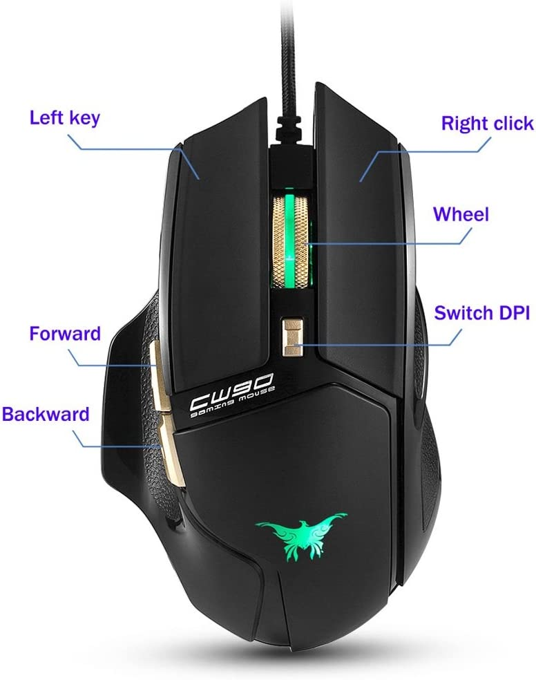 Hexiaoyi 3800 DPI Wired Gaming Mouse Mice 6 Buttons Design Breathing LED Colors for Gamer PC MAC