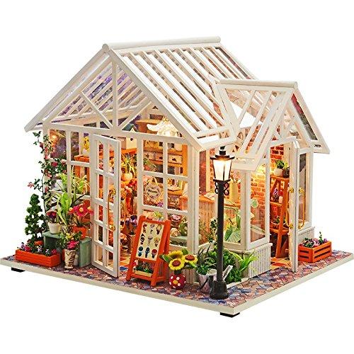 - WYD DIY Flower Shop Miniature Dollhouse,Handmade Wooden Furniture Kits Doll House