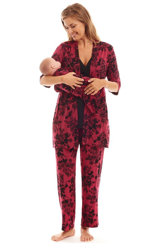 Everly Grey Women's Roxanne 5 Piece Maternity and Nursing PJ Pant Set with Robe and Matching Baby Gown, Berry Floral, Small