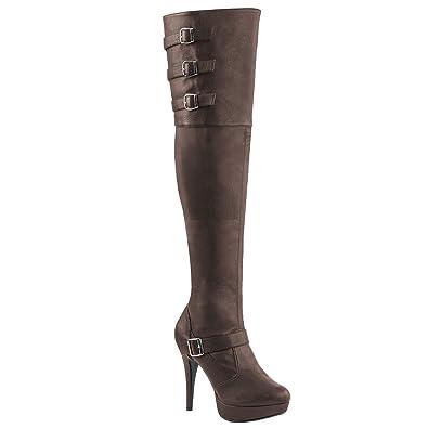 Pink Label Extra weite Overknee Stiefel Chloe-308 braun Übergröße