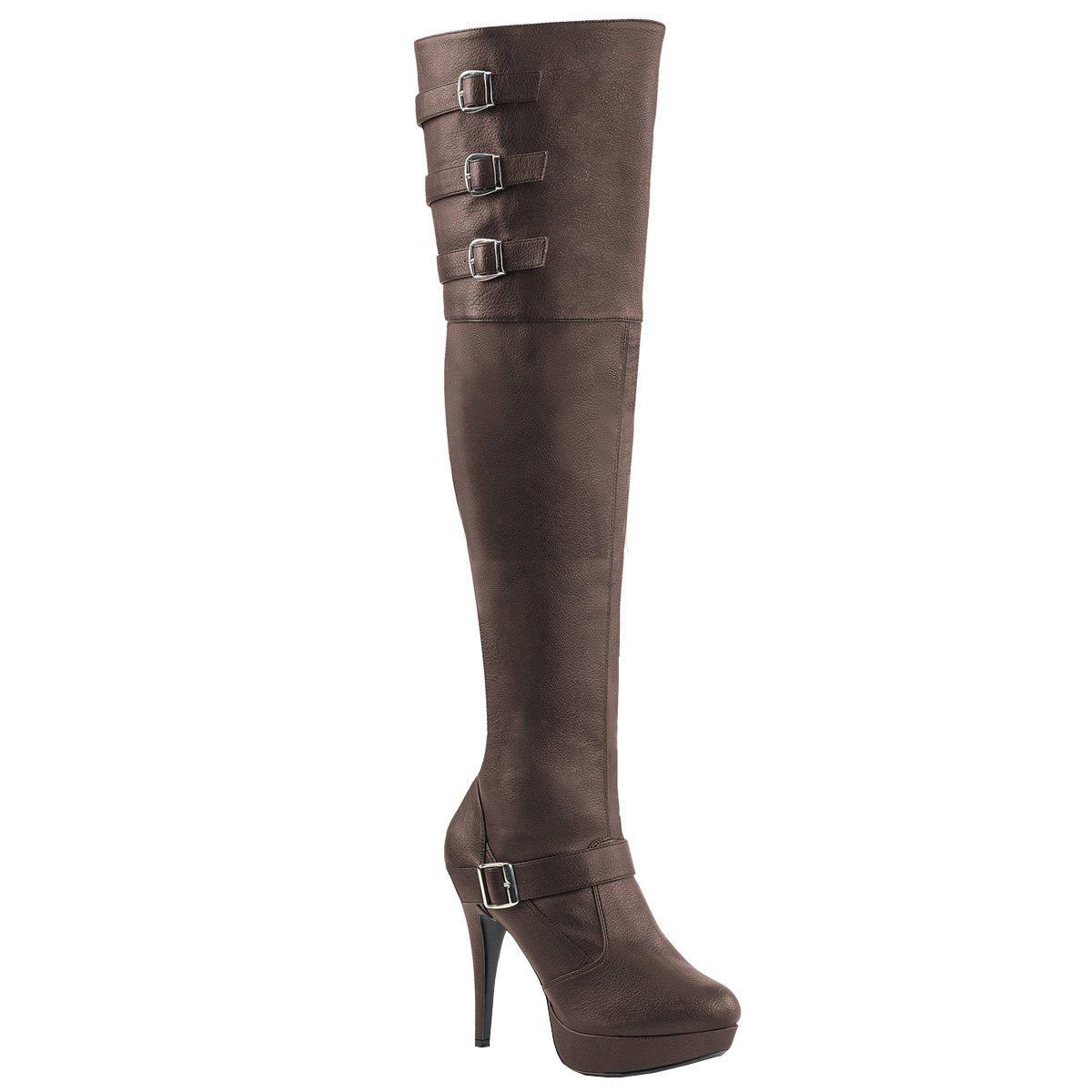 Higher-Heels Rosa Label Extra Weite Overknee Stiefel Chloe-308 braun Übergröße