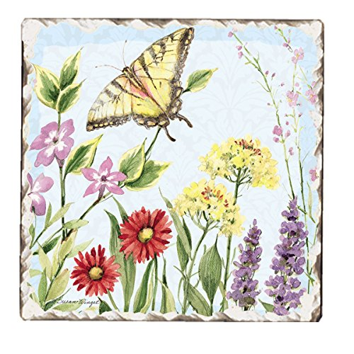 Counter Art Tumbled Tile Coasters, Herb Garden, Set of 4 (Herb Tiles)