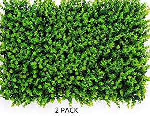 Artificial Greenery Panels NHsunray Boxwood Hedges Panels Mixed Foliage Greenery Walls Decoration Privacy Screen Ivy Fence for Wedding Indoor Outdoor Home Backyard Garden (A)