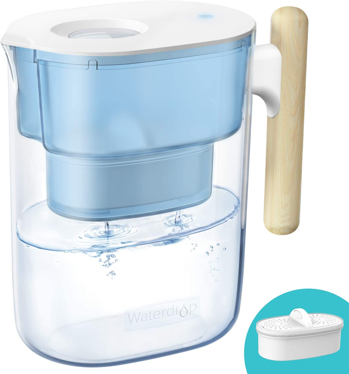 Waterdrop Chubby 10-Cup Water Filter Pitcher with 1 Filter, Long-lasting (200 gallons), 5X Times Lifetime Filtration Jug, Reduces Lead, Fluoride, Chlorine and More, BPA Free, Blue