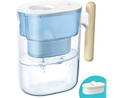 200-Gallon Long-Life Chubby 10-Cup Water Filter Pitcher with 1 Filter, NSF Certified, 5X Times Lifetime, Reduces Lead, Fluori