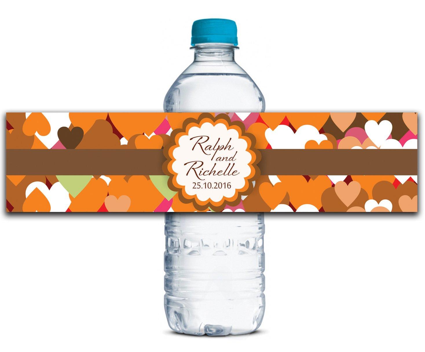 Personalisierte Wasserflasche Etiketten Selbstklebende wasserdichte Kundenspezifische Hochzeits-Aufkleber 8  x 2  Zoll - 50 Etiketten B01A0W2GLS | Deutschland