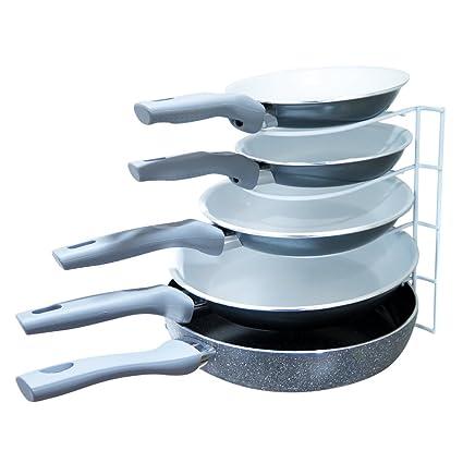 Evelots Organizador de metal para organizar sartenes, 5 estantes