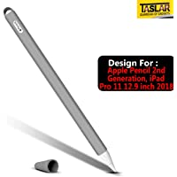 TASLAR Soft Silicone Sleeve Non-Slip Detachable Nib Tip Cap Holder Pocket Cover Case Protective Skin Accessories for Apple Pencil 2nd Generation, iPad Pro 11 12.9 inch 2018 (Gray)
