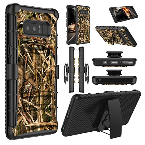 Galaxy Note 8 Case, Elegant Choise Hybrid Heavy Duty Dual Layer Shockproof [Swivel Belt Clip] Holster with [Kickstand] Combo Rugged Defender Case Cover for Samsung Galaxy Note 8 (Leaf)