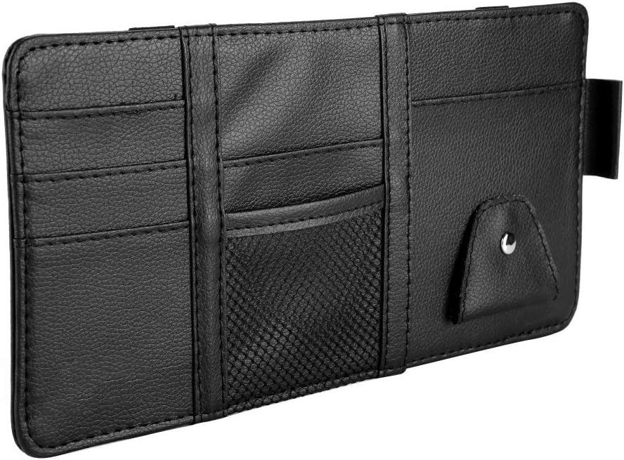Sun Visor Holder,Universal Car Sun Visor Leather CD Sunglass Card Organizer Holder