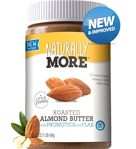 Naturally More Almond Butter - 100% All Natural Nut Butters - Finely  Roasted - Probiotics - Heart Healthy