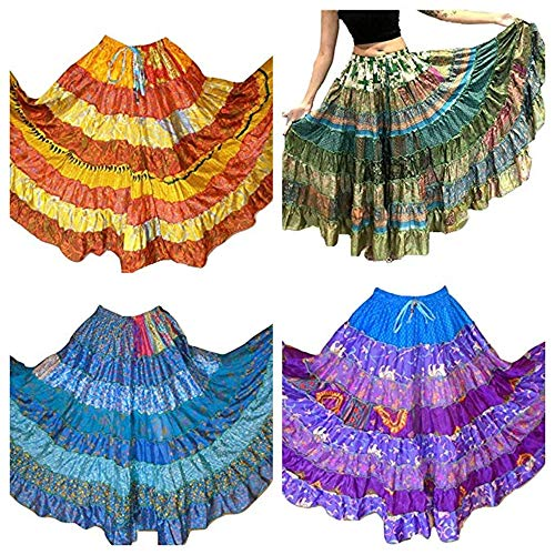 Pack of 5-7 Yard Tribal Gypsy Maxi Tiered Skirt Belly Dancing Skirts Silk Blend M L ()