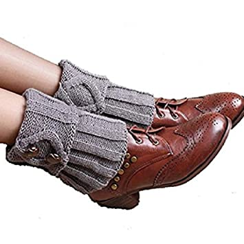 Yosemite mujeres calentadores de la pierna Calcetines botón ganchillo de arranque Calcetines Toppers Puños, gris: Amazon.es: Deportes y aire libre