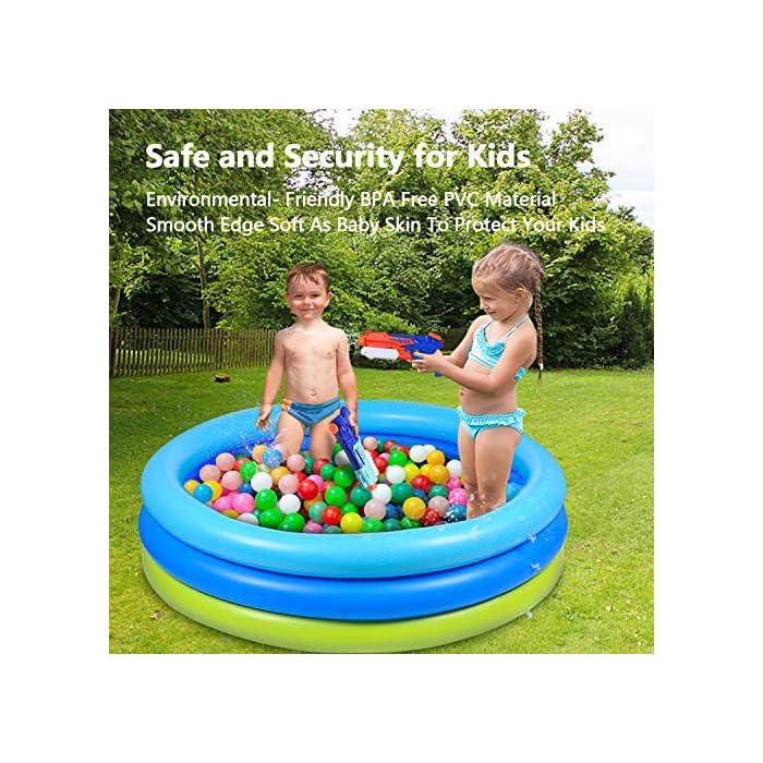 61hsP3gkVAL 🌴【Piscina de verano para remar】 De color azul verdoso, refrescante y simple, ¡esta piscina te puede recordar instantáneamente el mar, el agua, los árboles, el color del verano! 🌴【Diversión segura en el agua】 No es necesario salir al exterior para refrescarse, solo disfrute del agua fresca en la piscina inflable en la terraza o en el jardín. Nuestra piscina garantiza que los niños jueguen en el agua sin riesgo. 🌴【Más resistente】 Material de PVC duradero adoptado, esta piscina para niños es más gruesa que otras, puede permanecer más tiempo en verano. Parche incluido para daños accidentales.