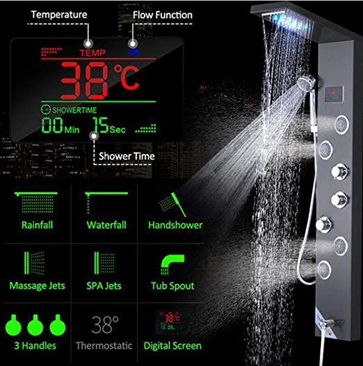GW Negro Hydroelectricity Pantalla Digital Ducha Panel Columna LED ...