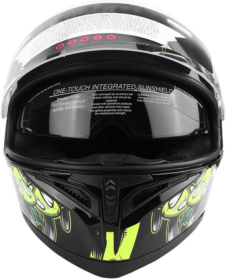 L Casco de Moto con Doble Visera Cascos de Motocross para Mujer Hombre Adultos