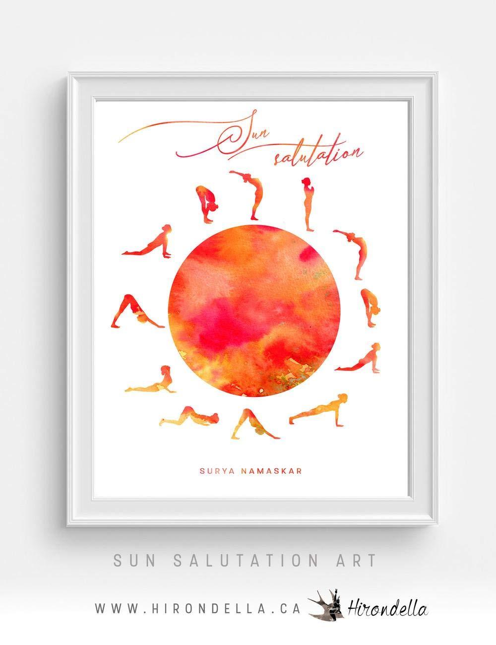 Sun Salutation Meditation and Yoga Poster for Studio Decor, Surya Namaskar, Spiritual Gifts, Yoga Pose Wall Art Print, Yoga Art for Home Frame