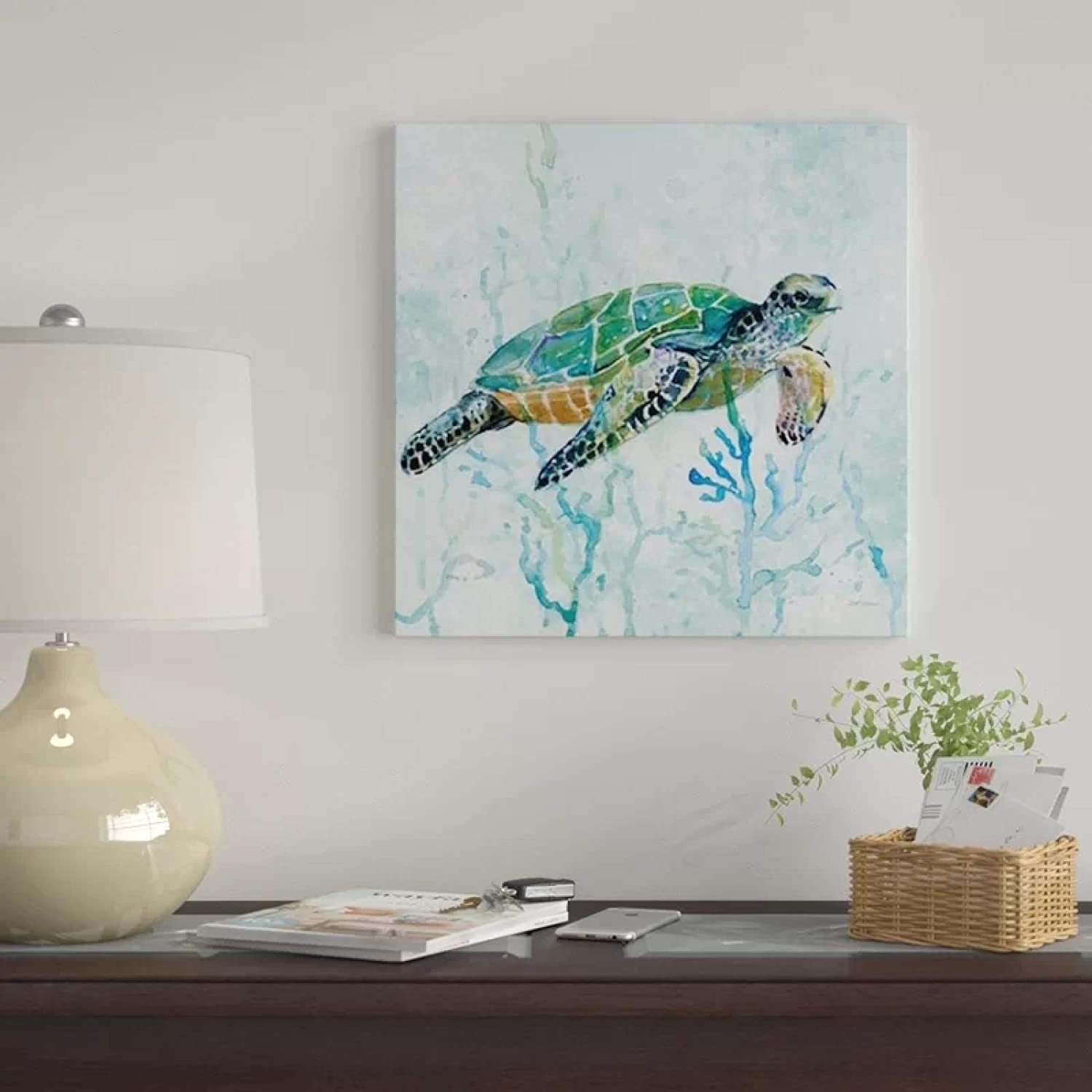 Canvas Poster Modular Animal Tortoise Prints Underwater Paintings Wall Art Pictures Gift Living Room Home Decor-70x70cm No Frame