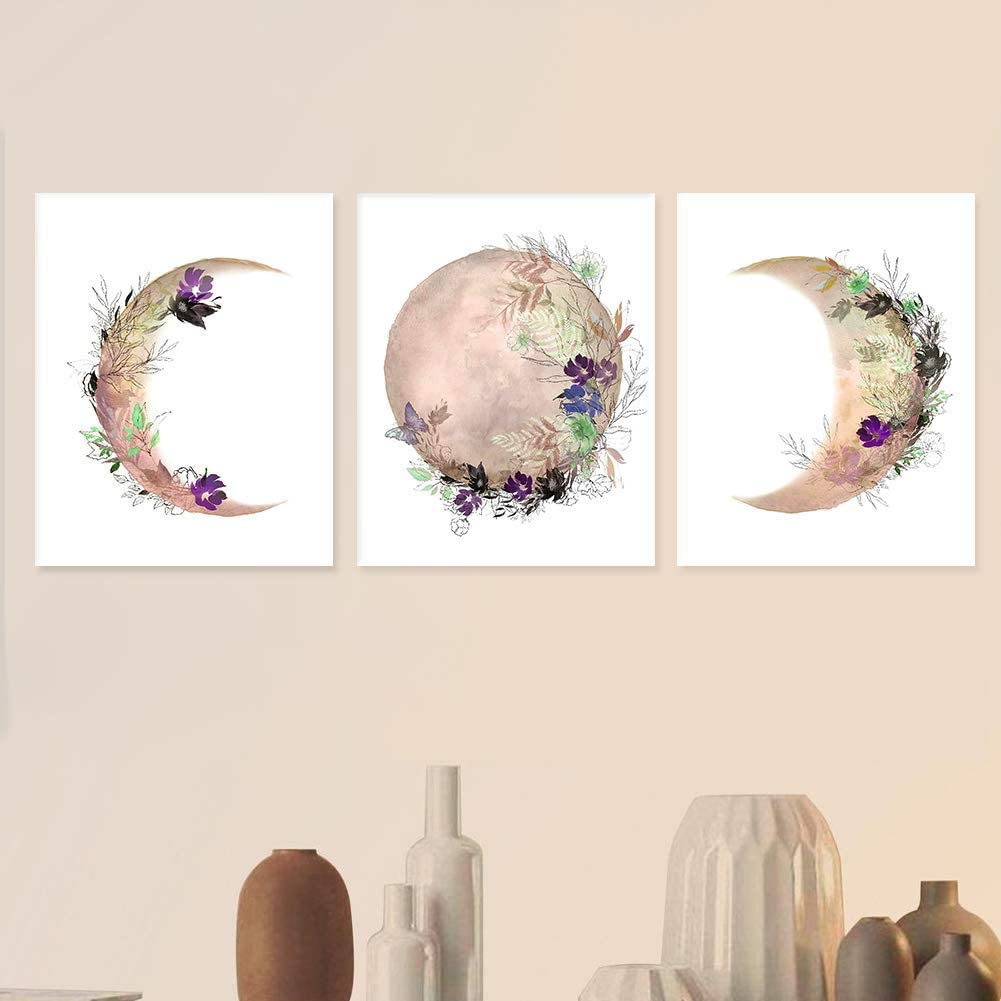 Moon Phase Wall Decor Canvas Print Poster Wall art Painting Wall Mural Removable Living room Bedroom Home Decor Wall Sticker (pink moon 8x10inch)