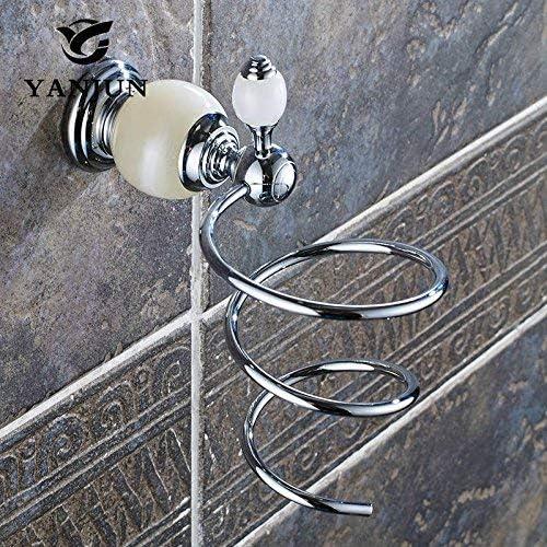 収納ラック棚 ヨーロッパスタイルの真鍮翡翠石ゴールデンウォールマウントヘアドライヤーサポートホルダースパイラルスタンド浴室の壁棚YJ-8152 家のホテルの装飾のため (色 : Chrome)