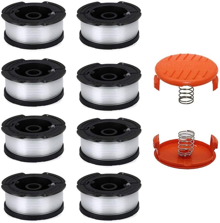 """Lucky Seven AF-100 Spool Compatible with Black & Decker AF-100-3ZP 0.065"""" String Trimmer Line Replacement for GH900 GH600 String Trimmer (8 Spools + 2 Caps and Springs)"""