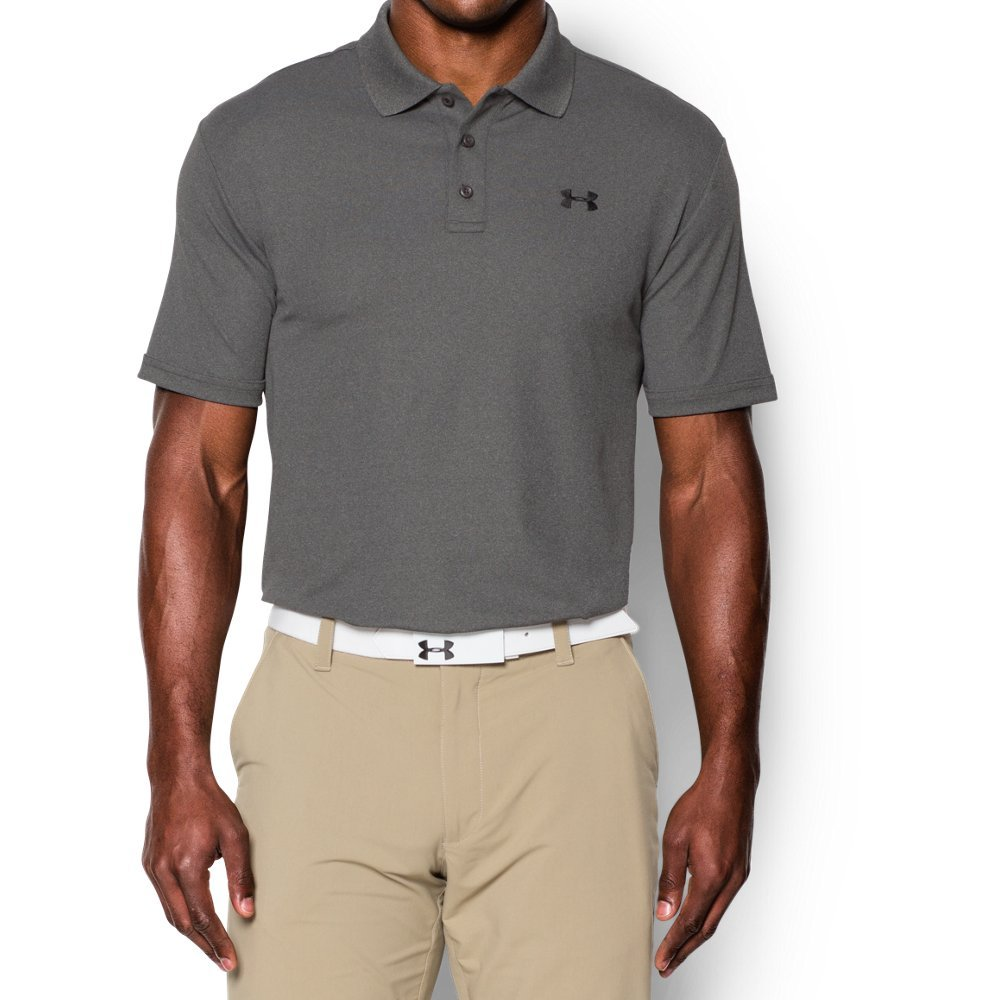 Under Armour Men's Performance Polo, Carbon Heather (090)/Black, Small