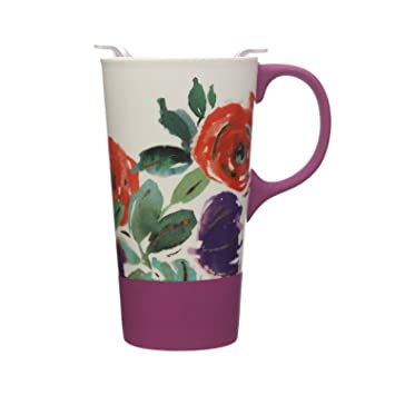 5a70eefe1ac Image Unavailable. Image not available for. Color: Ceramic Travel Coffee Mug  with Silicone Handle and Tritan Lid ...