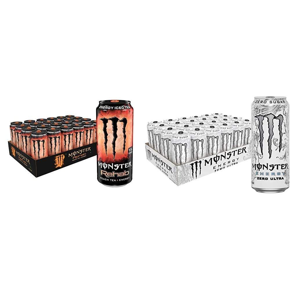 Monster Rehab Peach Tea + Energy, Energy Iced Tea, 15.5 Ounce (Pack of 24) & Monster Energy Zero Ultra, Sugar Free Energy Drink, 16 Ounce (Pack of 24)