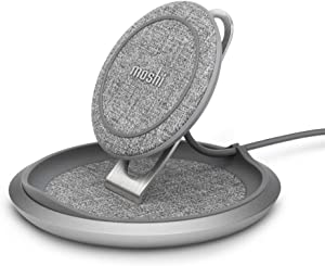 Moshi Lounge Q Wireless Charger Stand with Adjustable-Height, Textured Fabric, Fast-Charge Up to 15W Compatible with iPhone 12 Mini/12 Pro/12 Pro Max/SE 2/11 Series, Galaxy/Note, Pixel (No AC Adapter)