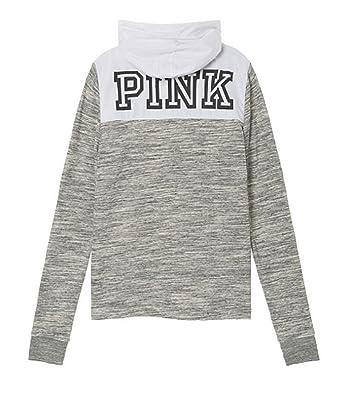 feab8ec7de18c Victoria's Secret Pink Perfect Anorak Lined Quarter Zip Hoodie Marl ...