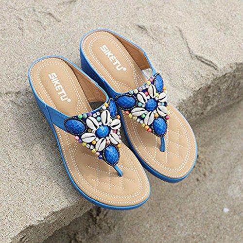 con Caminata Abalorios Bohemia Trail Chanclas Azul Mujer De Tamaño étnica De Zapatos De Sandalias Bolas Gran Metálicos OgqTF