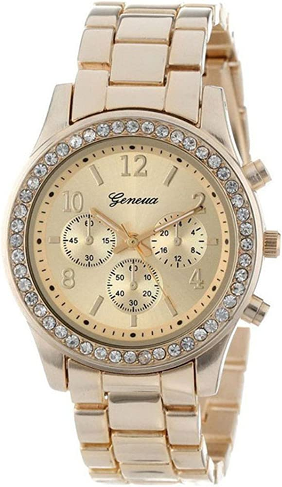 Crystals Watch,Han Shi Fashion Ladies Women Girls Faux Chronograph Quartz Classic Round Clock