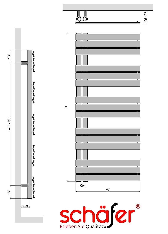 ELEKTRISCHE Design Badheizk/örper ELANOR 600 x 1400 mm, Wei/ß