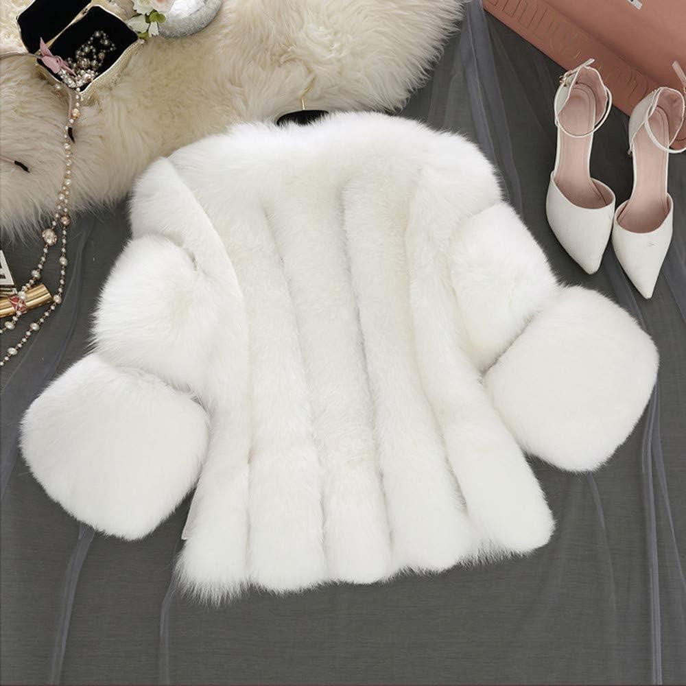 masrin Frauen Mode Solid Jacken Pelz Kurze N/ähte Faux Pelzmantel